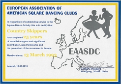 2018-03-10 Urkunde für 25 Jahre Mitgliedschsft in der EAASDC©Country Skippers - Square Dance Club Wietzen