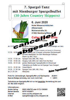 2020-06-06 Absage Spargel-Tanz © Country Skippers - Square Dance Club Wietzen