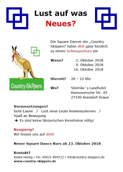 Lust auf was Neues? © Country Skippers - Square Dance Club Wietzen