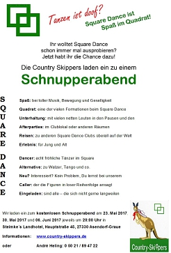 Schnupperabende 2017©Country Skippers - Square Dance Club Wietzen